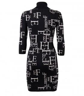 ELISABETTA FRANCHI BLACK BUTTER KNITTED DRESS