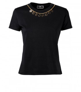 ELISABETTA FRANCHI BLACK T-SHIRT WITH NECKLACE