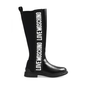 LOVE MOSCHINO BLACK HIGH BOOT WITH WHITE LOGO