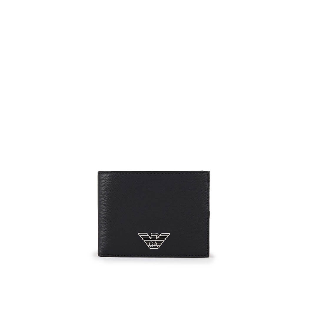Emporio Armani Eagle Black Medium Wallet In Nero
