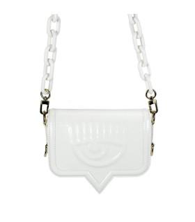 CHIARA FERRAGNI EYELIKE WHITE PATENT SMALL CROSSBODY BAG