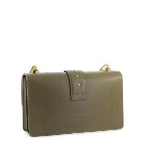 PINKO LOVE CLASSIC ICON MAXI CHAIN OLIVE GREEN SHOULDER BAG