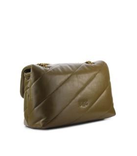 PINKO LOVE CLASSIC PUFF MAXI QUILT 4 OLIVE GREEN CROSSBODY BAG
