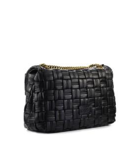 PINKO LOVE CLASSIC PUFF WEAVE CL BLACK CROSSBODY BAG