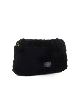 PINKO LOVE CLASSIC PUFF WEAVE CL BLACK VELVET CROSSBODY BAG