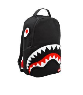 SPRAYGROUND GHOST CHENILLE SHARK BLACK BACKPACK