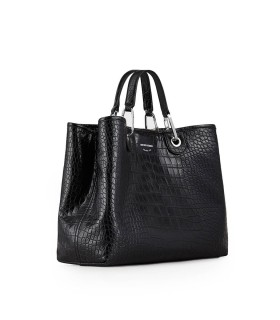 EMPORIO ARMANI MYEA CROCO PRINT BLACK SHOPPING BAG