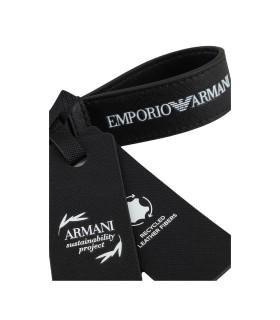 EMPORIO ARMANI BLACK KEYCHAIN WITH LOGO
