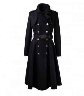 ELISABETTA FRANCHI BLACK DOUBLE-BREASTED COAT