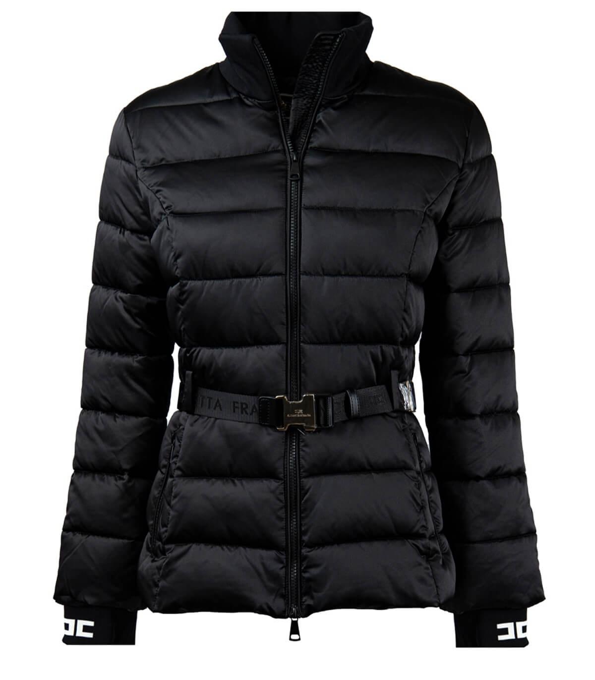 Elisabetta Franchi Black Padded Coat With Belt In Nero