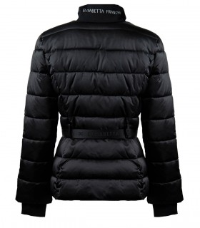 ELISABETTA FRANCHI BLACK PADDED COAT WITH BELT