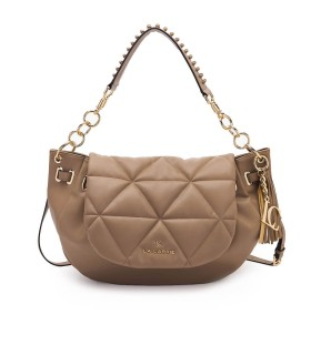 LA CARRIE TOUCHY TAUPE LARGE SHOULDER BAG