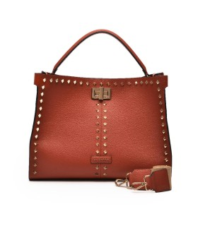 LA CARRIE SILVIE STUD BRICK RED SHOPPING BAG