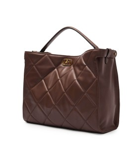 LA CARRIE SILVIE TOUCHY BROWN SHOPPING BAG