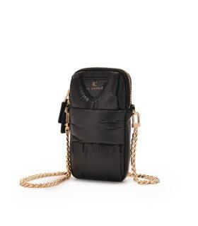 LA CARRIE PADDED BLACK PHONE CASE CROSSBODY BAG