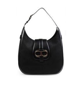 ELISABETTA FRANCHI BLACK SHOULDER BAG WITH MAXI LOGO