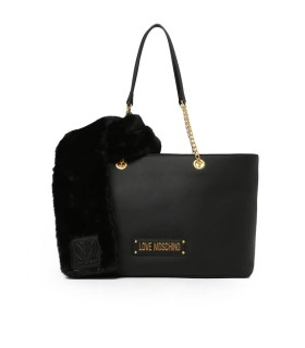 LOVE MOSCHINO BLACK SHOPPING BAG WITH SCARF