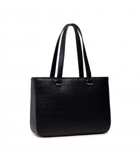 LOVE MOSCHINO BLACK SHOPPING BAG WITH EMBOSSED LOGO