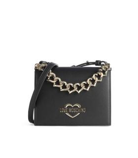 LOVE MOSCHINO BLACK CROSSBODY BAG WITH CHAIN