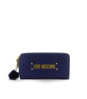 LOVE MOSCHINO NAVY BLUE LARGE WALLET WITH POMPOM