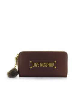 LOVE MOSCHINO BROWN LARGE WALLET WITH POMPON