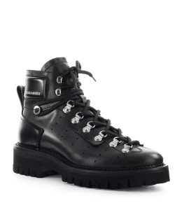 DSQUARED2 HIKING HECTOR BLACK LEATHER COMBAT BOOT