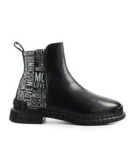 LOVE MOSCHINO BLACK ANKLE BOOT WITH WHITE LOGO